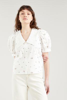 witte blouse met bloemen dessin royce collar blouse a0666-0000
