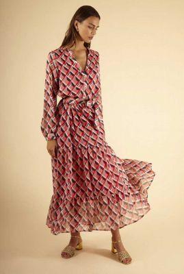 rode maxi jurk met geometrische print abassia dress