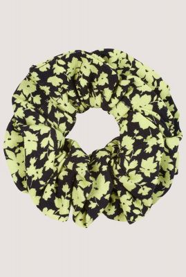 scrunchie met fel groene bloemen print ac lime flowers