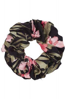zwarte viscose scrunchie met botanische print ac paradiso