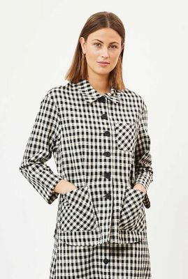 zwart-wit geruite blouse met grote steekzakken adalyn 6602