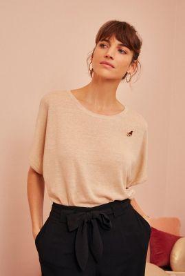 beige linnen t-shirt met wijde aangeknipte mouwen agrio