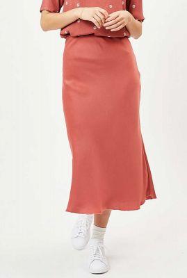 oud roze zijde look midi rok albi 6597