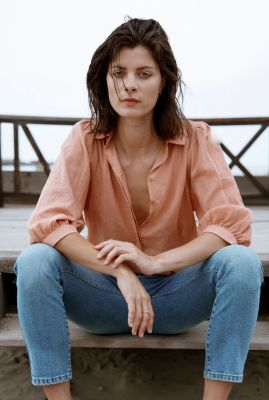 zalm roze blouse met ballon mouw chelsea it0123
