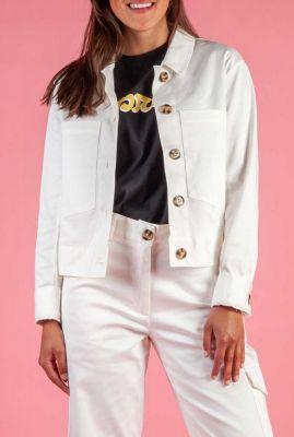 katoenen jack met knopen en grote borstzakjes allie jacket