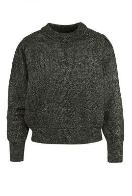 zwart gemêleerde trui met pofmouwen darrah pull