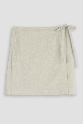 korte wikkelrok van linnenmix oxalide linen skirt