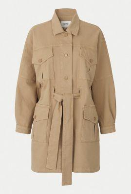 beige half lange jas met ceintuur ariana ls coat