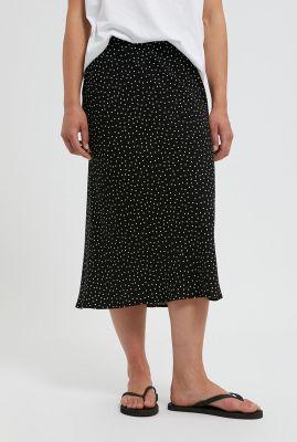 zwarte midi rok met witte stippen devoraa 30002301