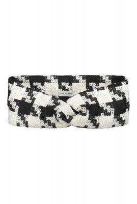 elastische haarband met knoop zwart met wit geruit mandie