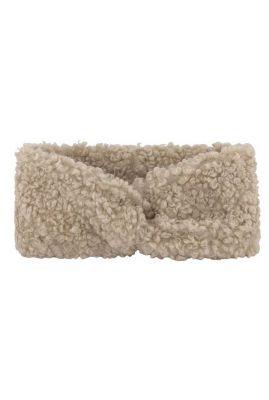 elastische haarband met knoop beige bouclé tess