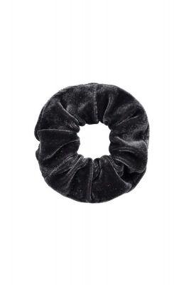 kleine fluwelen scrunchie donker grijs romee mini