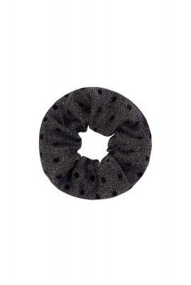 grijze glitter scrunchie met zwarte stippen lenny scrunchie