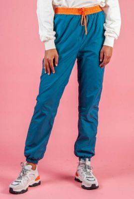 petrol kleurige lichtgewicht broek met tunnelkoord aurore pants
