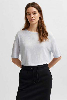 lichtblauw linnen t-shirt met ronde halslijn ayoe linen tee 16078307