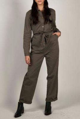 legergroene jumpsuit met ceintuur barbara jumpsuit