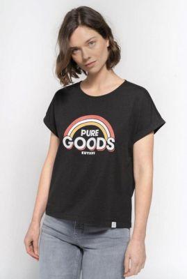 zwart t-shirt met regenboog opdruk bella tee 202115