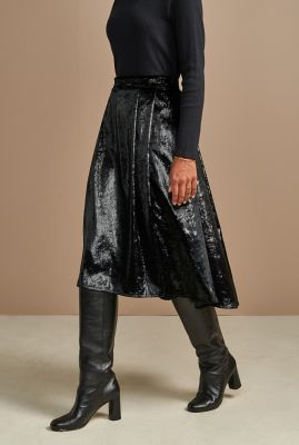 zwarte zachte midi rok met glinsterend dessin pacific02 p1355