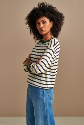 linnen shirt met strepen dessin en contrasterende boorden senia02 t1302s