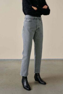 grijze cropped jeans met rechte broekspijpen popeye12 d0401