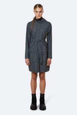 donker grijze regen jas met strik ceintuur 1824 slate