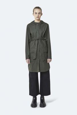 half lange regenjas met capuchon en ceintuur belt jacket 1824