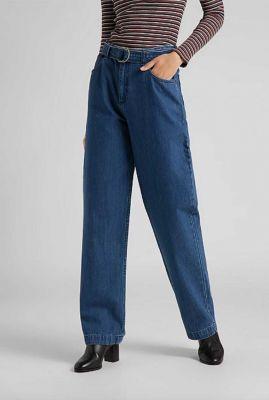 blauwe straight fit jeans met ceintuur belted straight leg l30zkegt