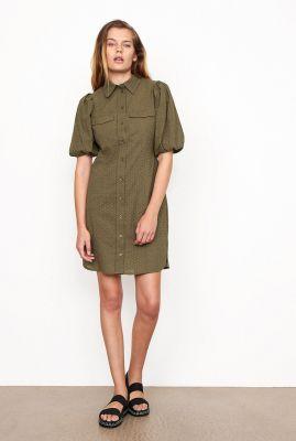 legergroene jurk met broderie anglaise details bilbao mini dress