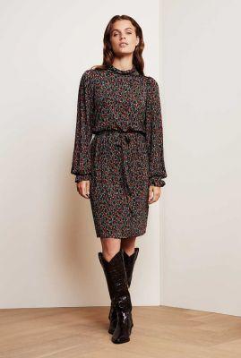 soepel vallende jurk met ceintuur en sierlijke all-over print billy dress