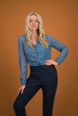 blauwe semi-transparante blouse blue by katja sp6336