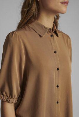 bruine blouse met korte mouwen nucasilda shirt 700416