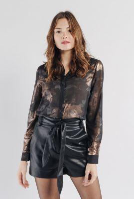 zwarte transparante blouse met glanzende print ermeline 56189