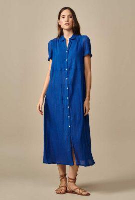 lange blauwe jurk met knoopsluiting iueke11 p1289