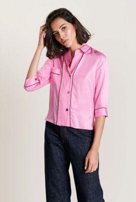 roze viscose blouse met contrasterende naden holdup p1138