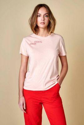 lichtroze t-shirt van katoen met roze opdruk covi01 t1301b