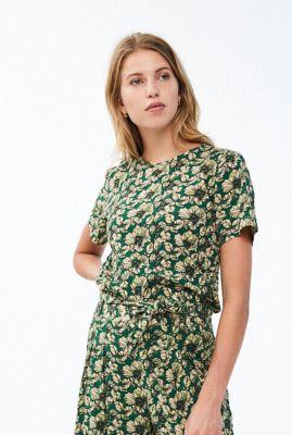 groene top met tropische print bo tropico blouse