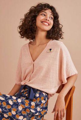 licht roze linnen vest met korte mouw boudy