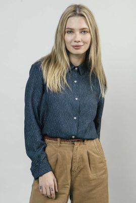 donkerblauwe blouse met streep rainy night printed blouse 1121