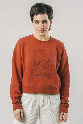 roestkleurige oversized sweater met landschap opdruk gobi 1324