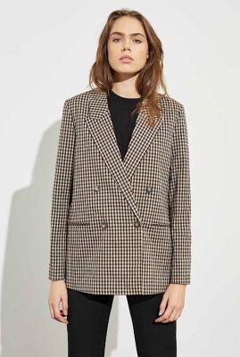 double-breasted blazer met rechte pasvorm en ruit dessin brennda