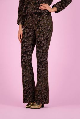 jacquard geweven flared broek met stretch electric by katja sp6363