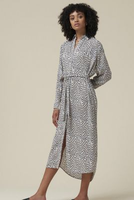 off-white jurk van eco viscose met all-over print bunjin dress l/s