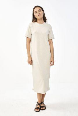 katoenen maxi jurk met korte mouwen hope dress organic