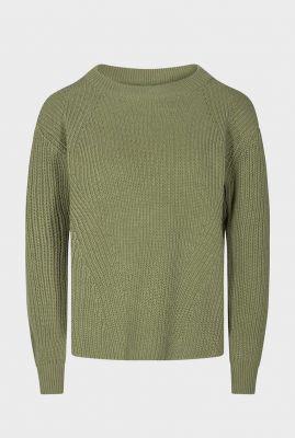 rib gebreide trui van biologisch katoen met hoge hals caire 0025