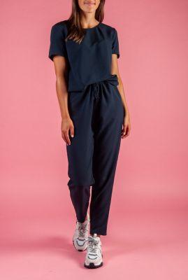 donker blauwe jumpsuit met kanten detail campell jumpsuit