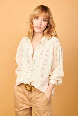 ecru kleurige blouse met gestreept dessin cantor