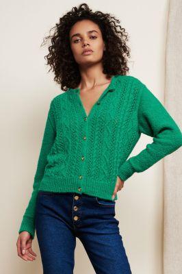 groen gebreid vest met gouden hartjes knopen caro lou cardigan