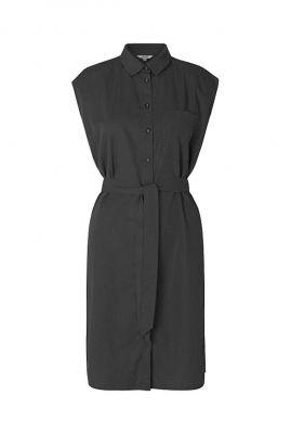 zwarte jurk met klassieke kraag en ceintuur cavalla