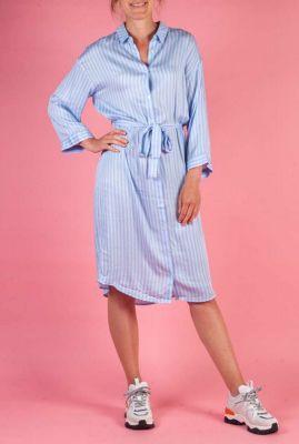 licht blauw gestreepte blouse jurk celene print dress
