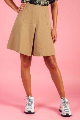 zandkleurige linnen mix rok met opgestikte zakken cenia skirt